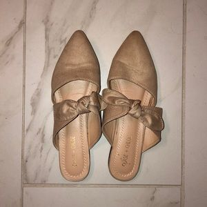 Nude suede closed toe flats w bow tie WORN ONCE